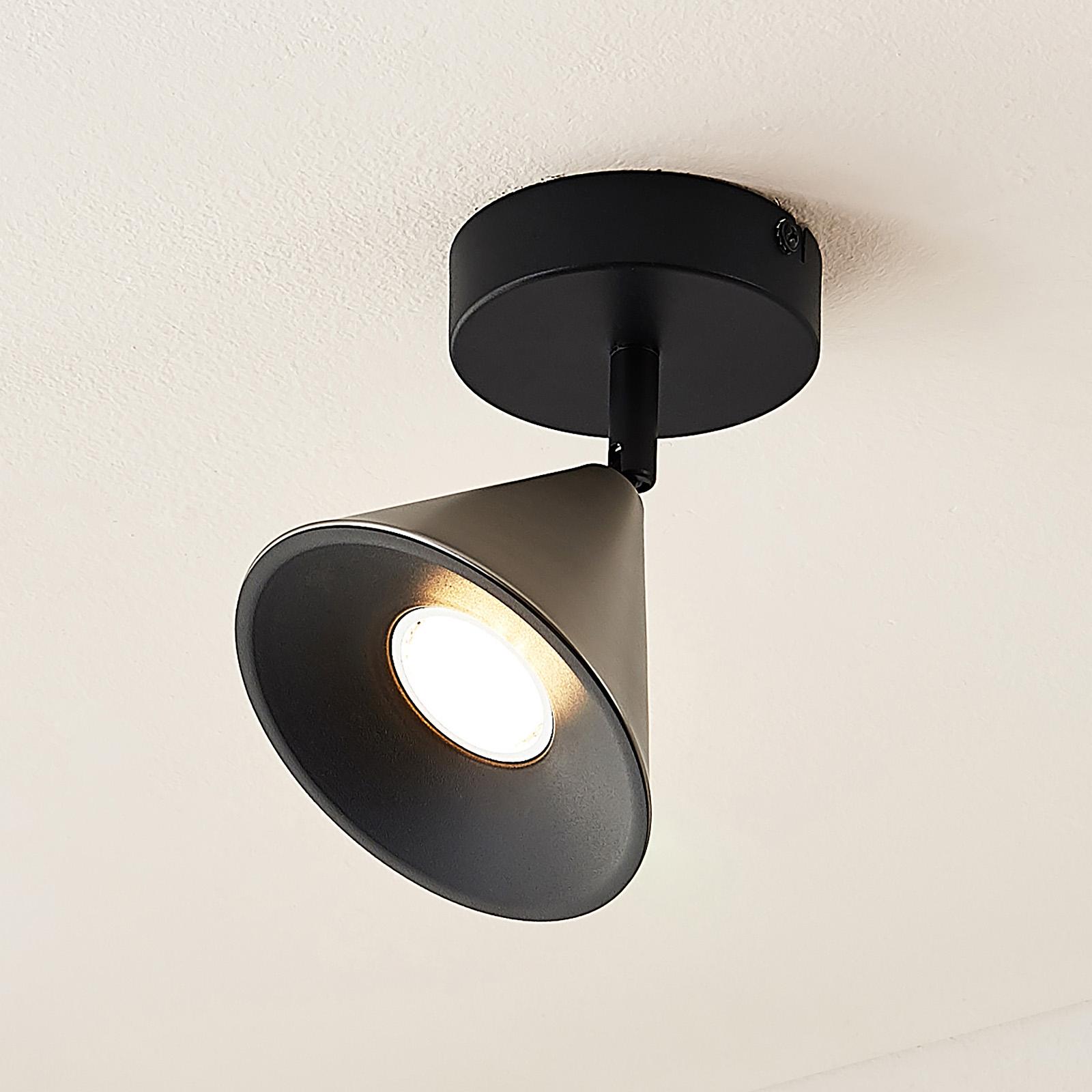 Lucande Kartio -kattovalaisin, 1-lamp., nikkeli