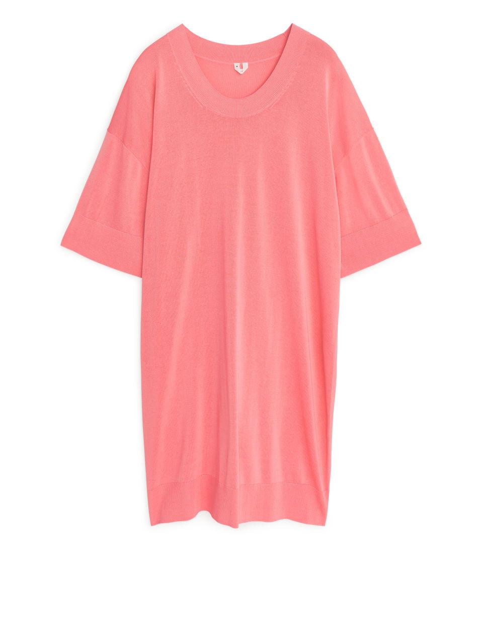 Oversized Fine-Knit Dress - Orange