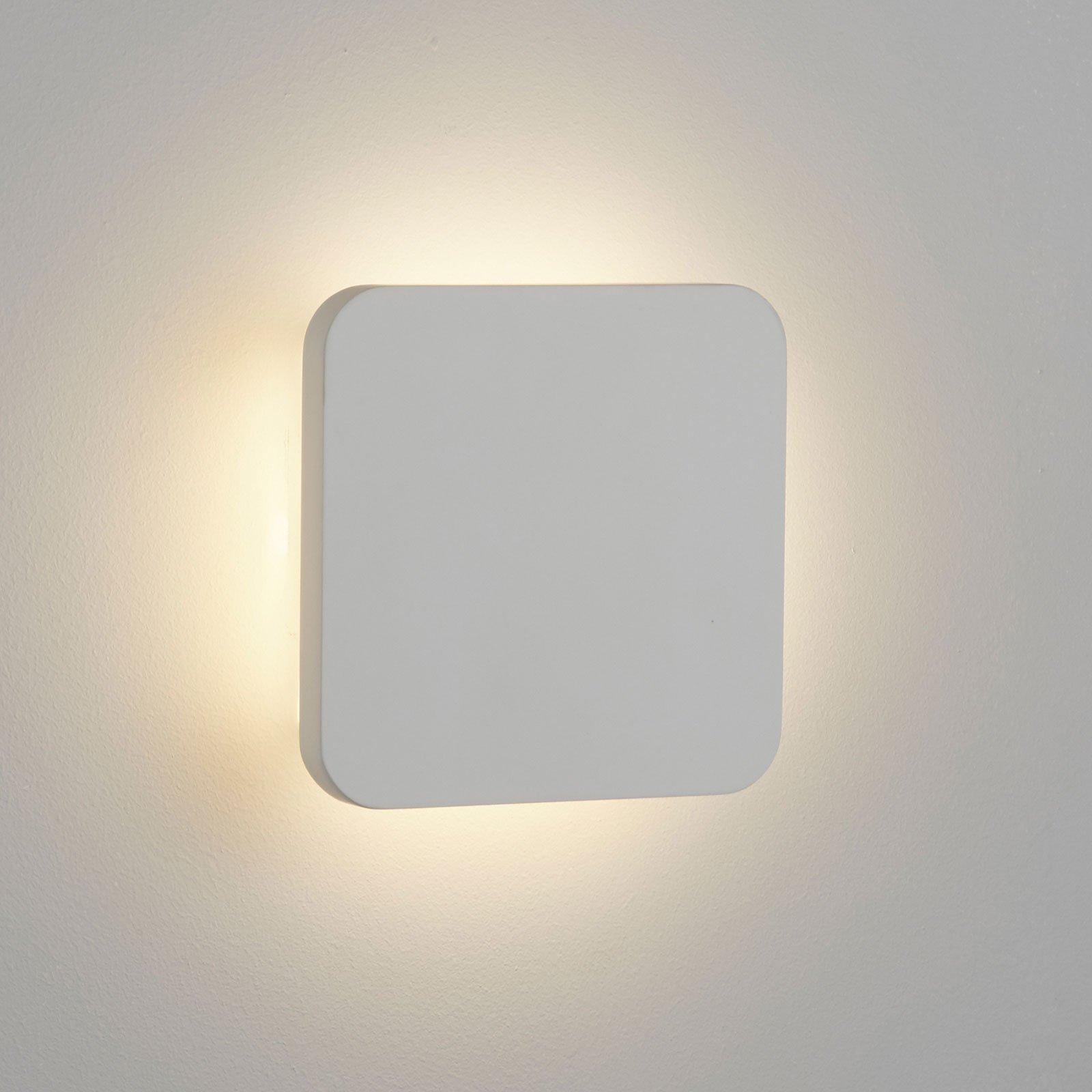 LED-vegglampe Gypsum 15x15cm i hvit gips