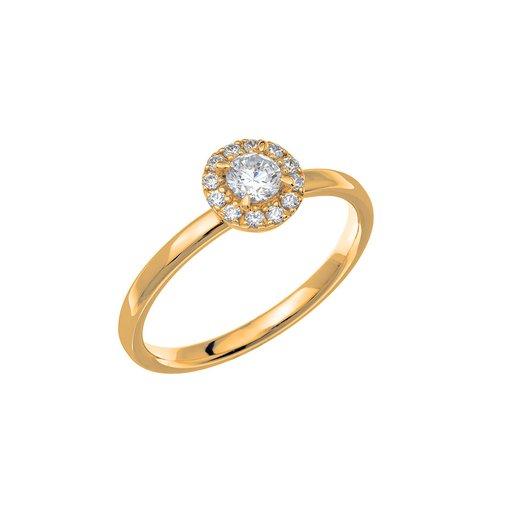 Diamantring i 18K guld, 75