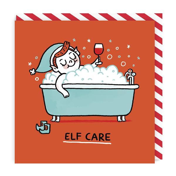 Elf Care Square Christmas Card