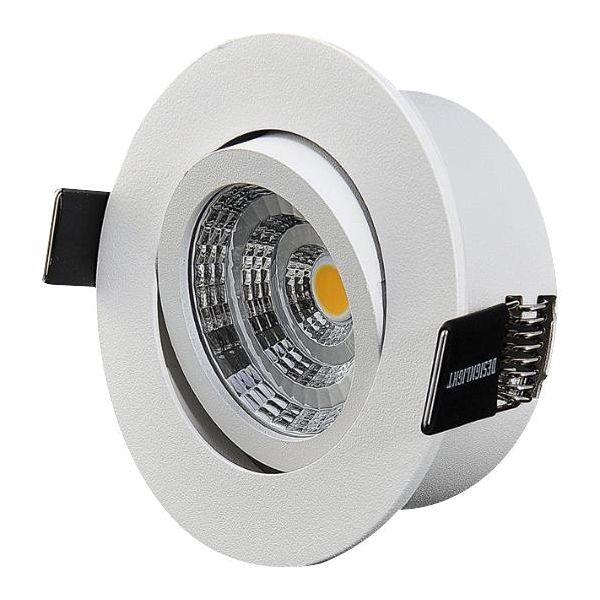 Designlight Q-1MW Downlight-valaisin kuristimella, 3000 K, kallistus