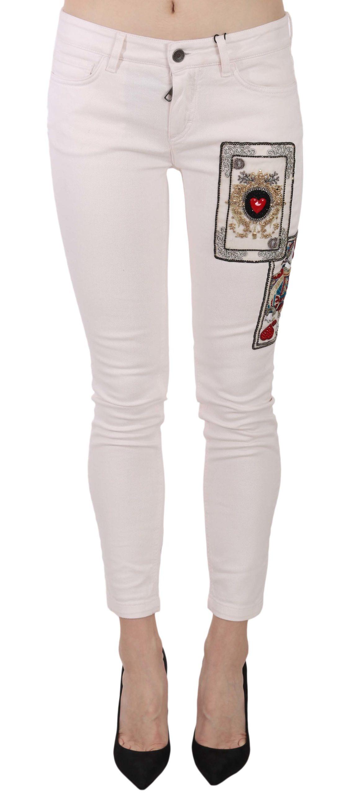 Dolce & Gabbana Women's Queen Of Hearts Skinny Jeans White PAN61199 - IT40|S