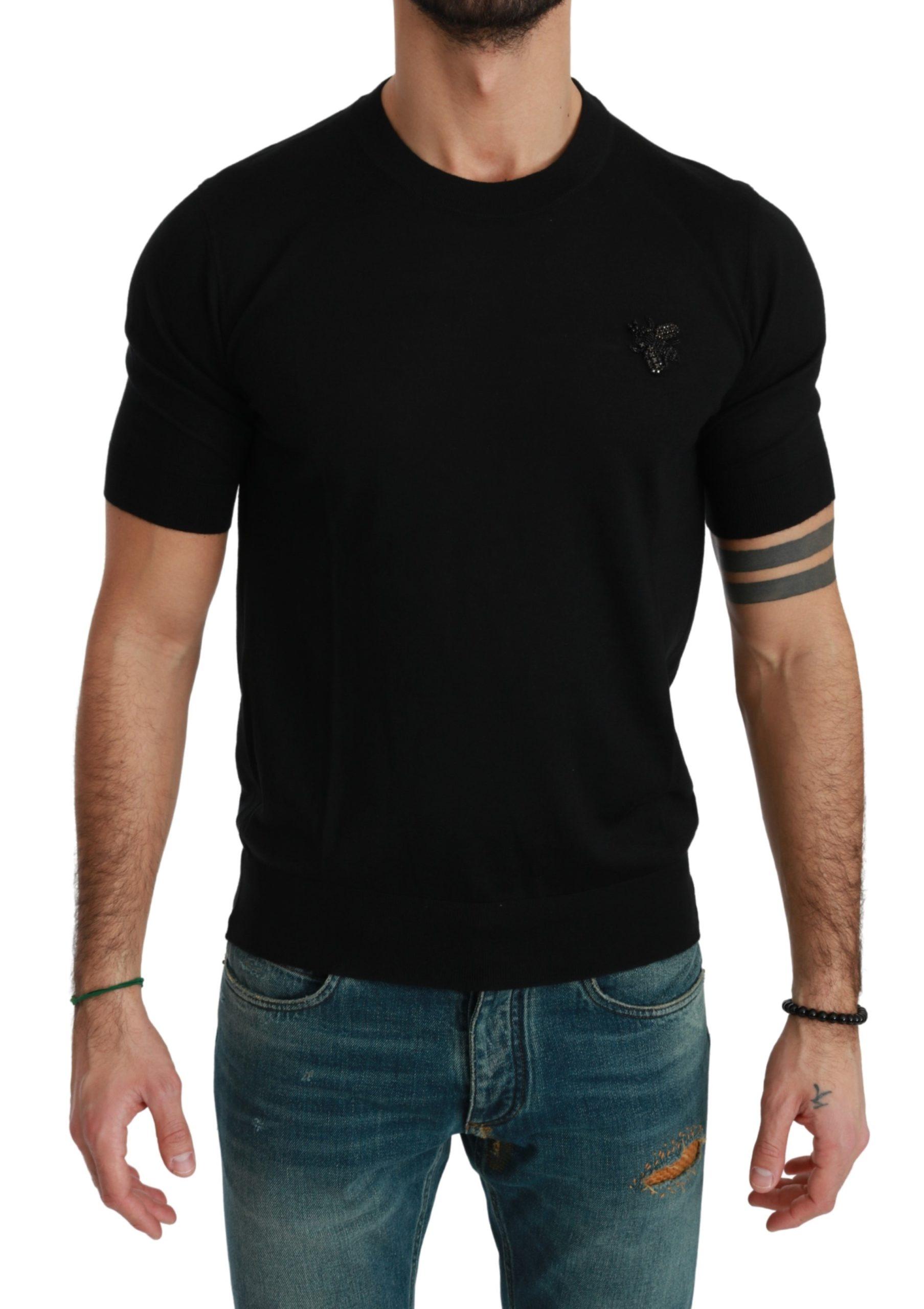 Dolce & Gabbana Men's Bee Embellished Cashmere T-Shirt Black TSH4569 - IT46 | S