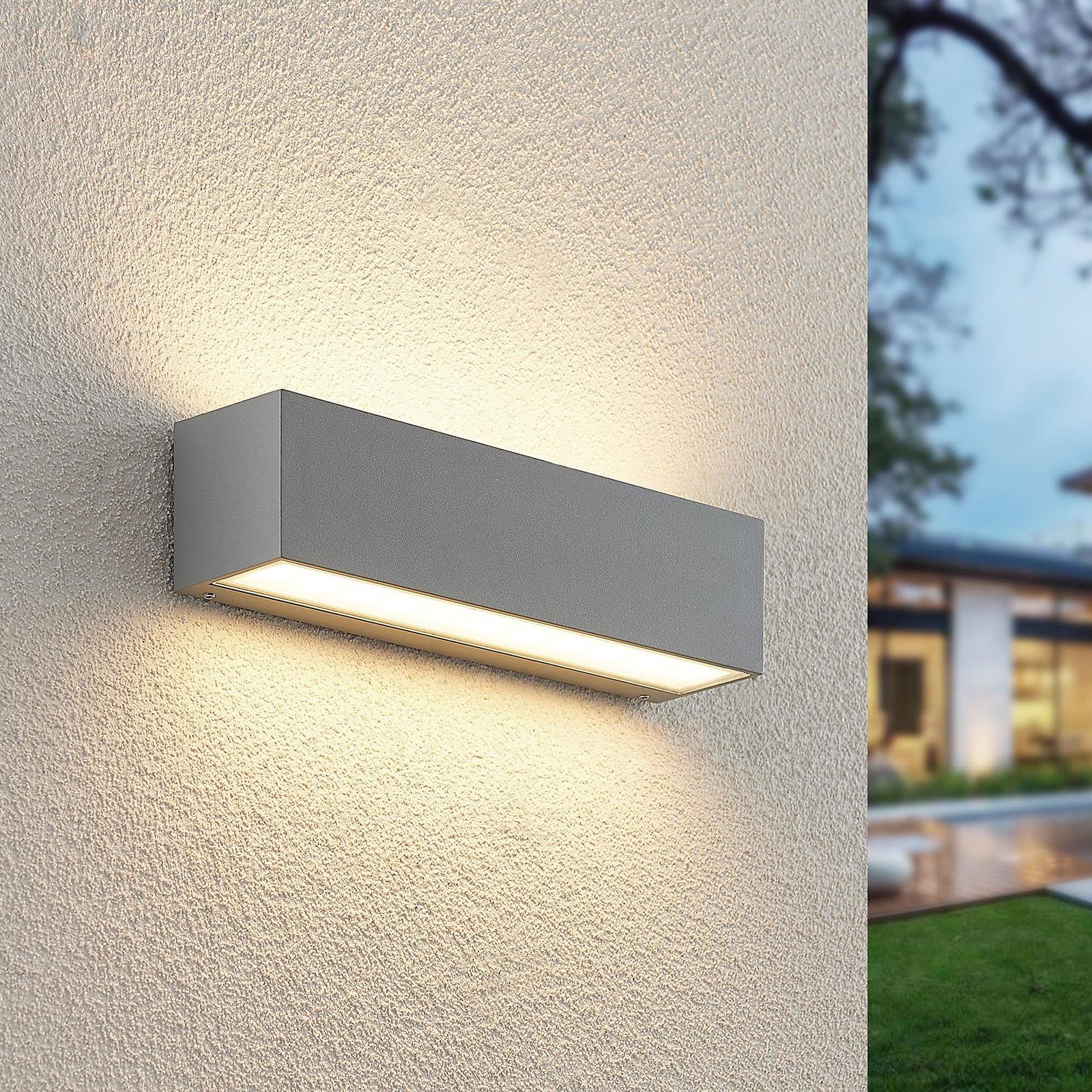 Lucande Lengo-LED-seinävalo 25cm hopea 2 lamppua