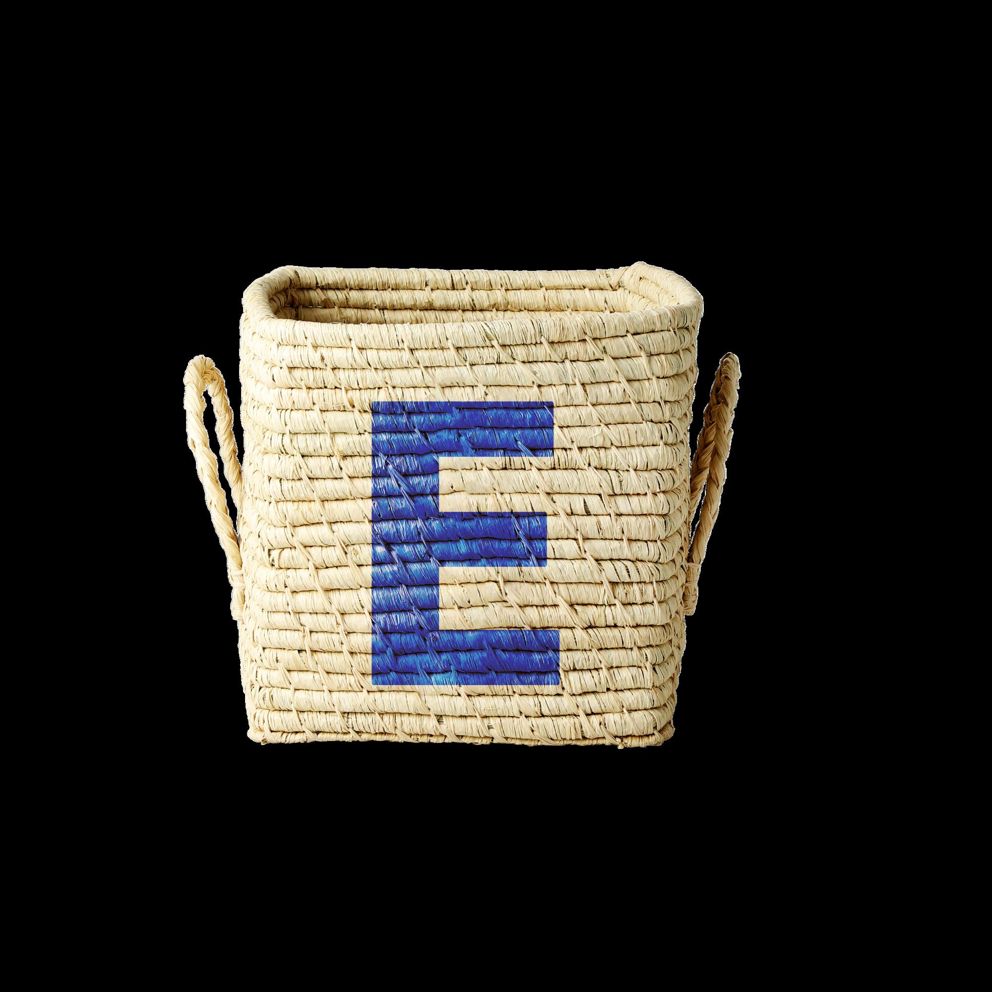 Rice - Raffia Square Basket w. Painted Letter - E