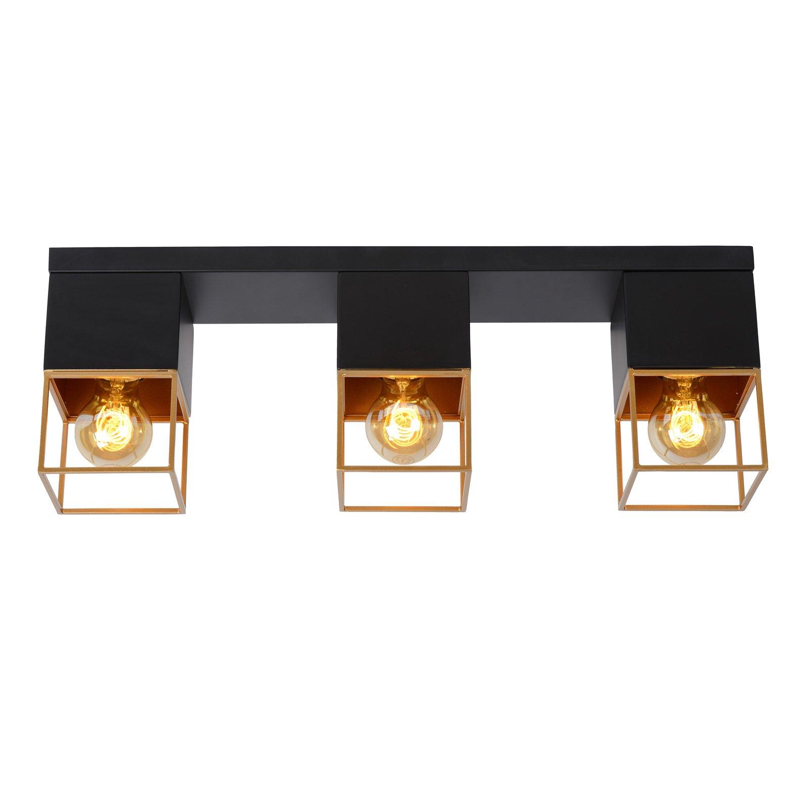 Rixt taklampe svart, kantet, 3 lyskilder