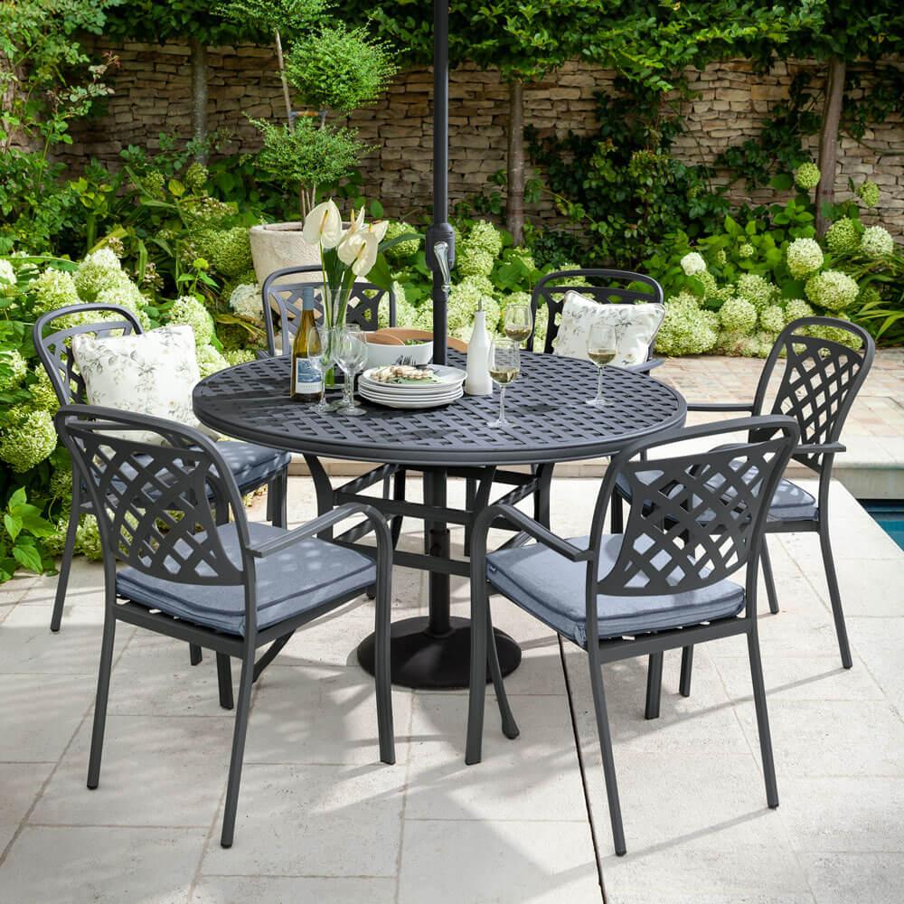 2021 Hartman Berkeley 6 Seat Garden Dining Set With Round Table & Parasol - Antique Grey/Platinum