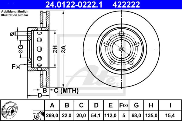 Jarrulevy ATE 24.0122-0222.1