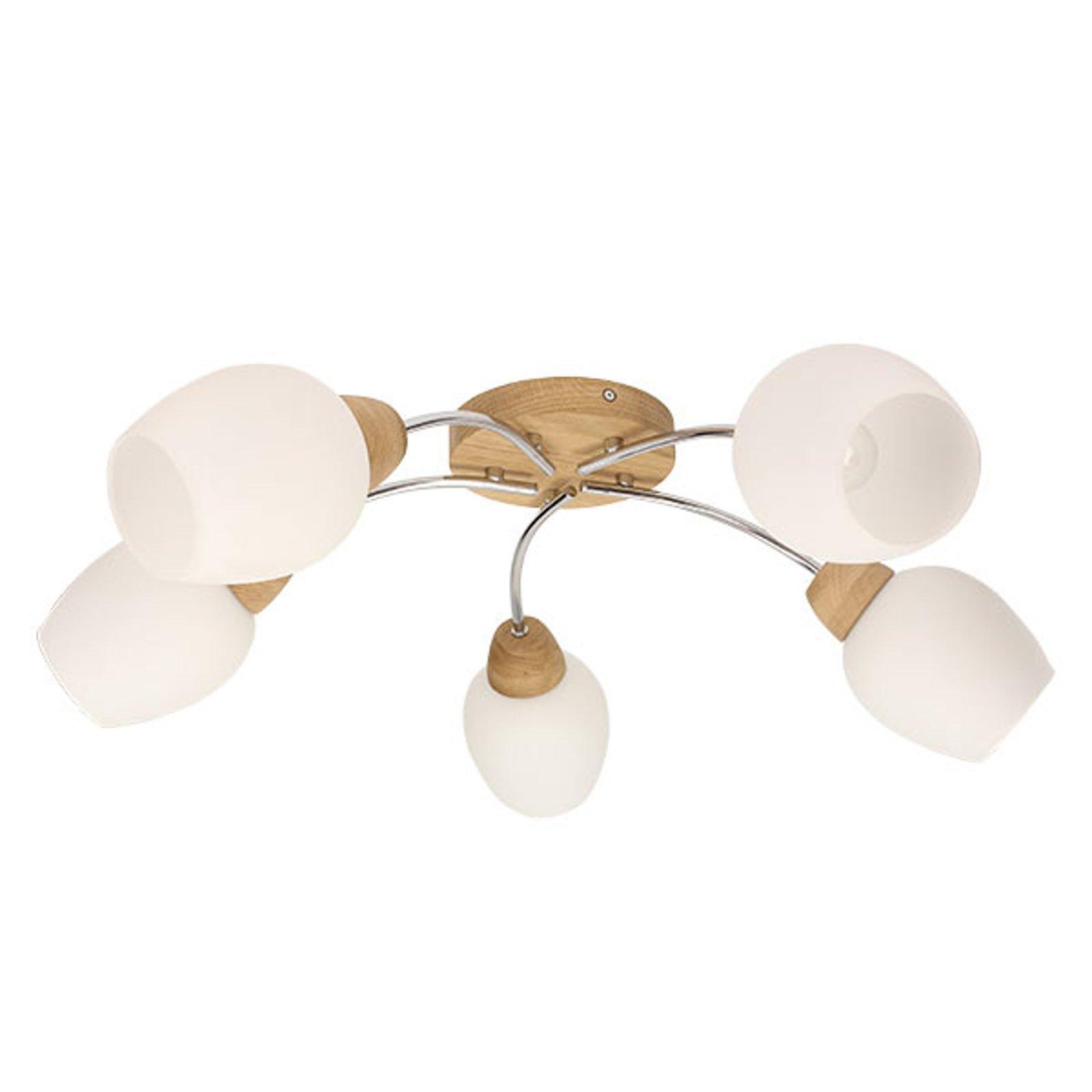Santa - taklampe i tre, fem glasskjermer