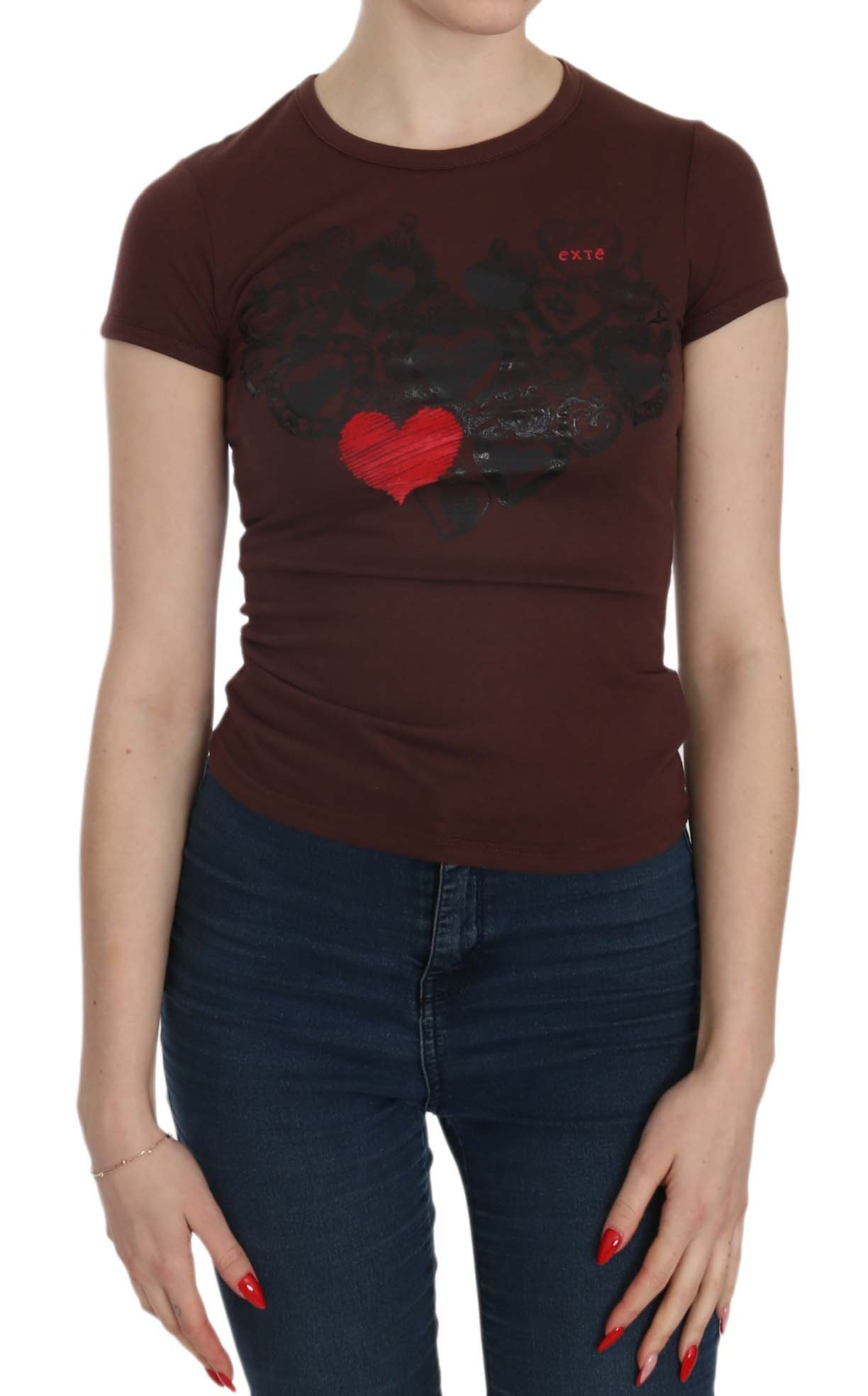 Exte Women's Hearts SS Casual T-shirt Top Brown TSH3909 - IT38 XS