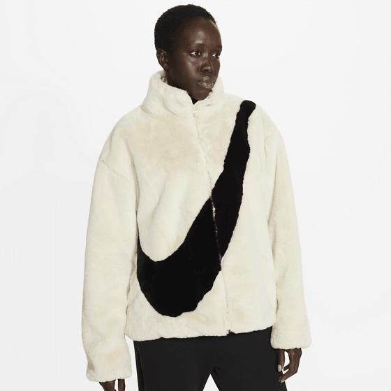 Nike W Nsw Jkt Faux Fur Jackor FOSSIL/BLACK