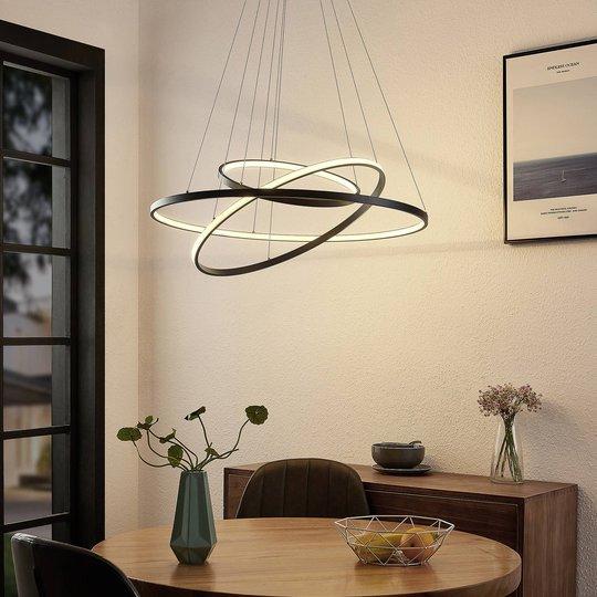 Lucande Filippa LED-pendellampe med 3 ringer