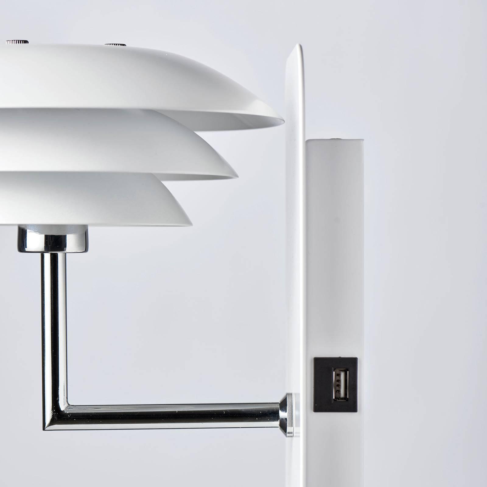 Dyberg Larsen DL20 USB Shelf-seinälamppu valkoinen