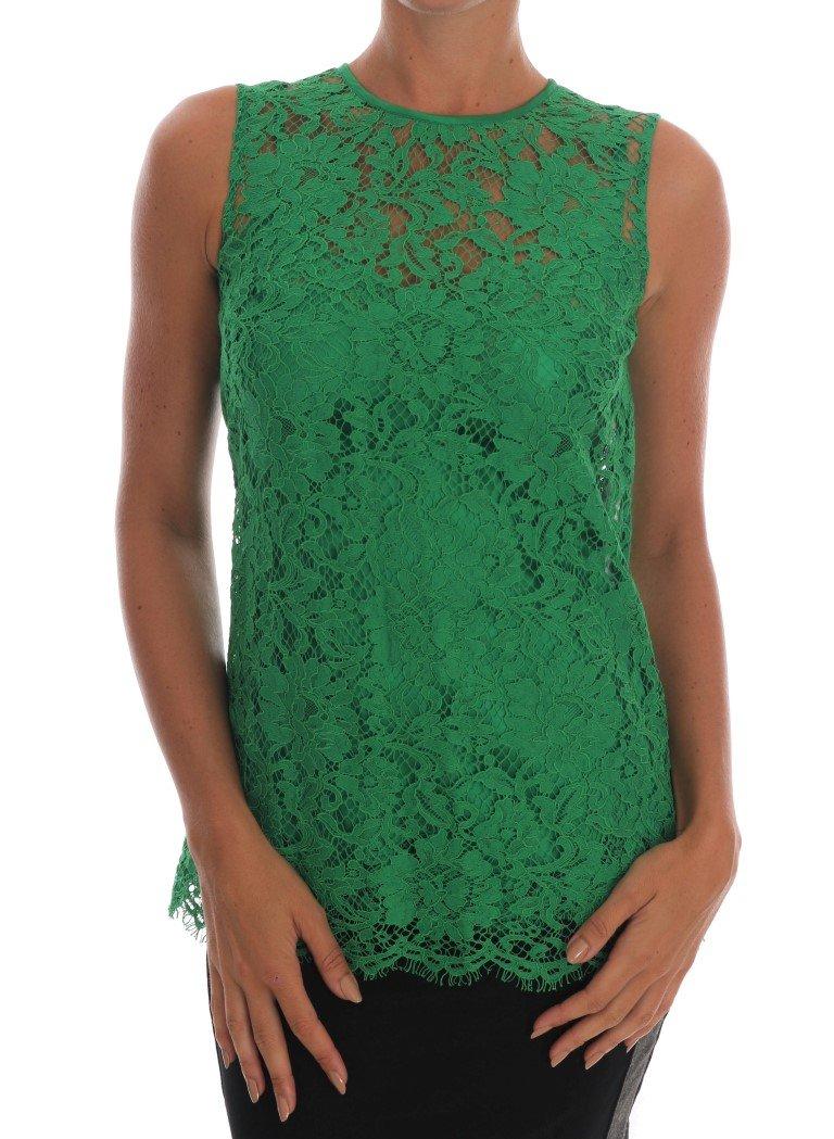 Dolce & Gabbana Women's Floral Lace Top Green TSH1437 - IT36|XXS