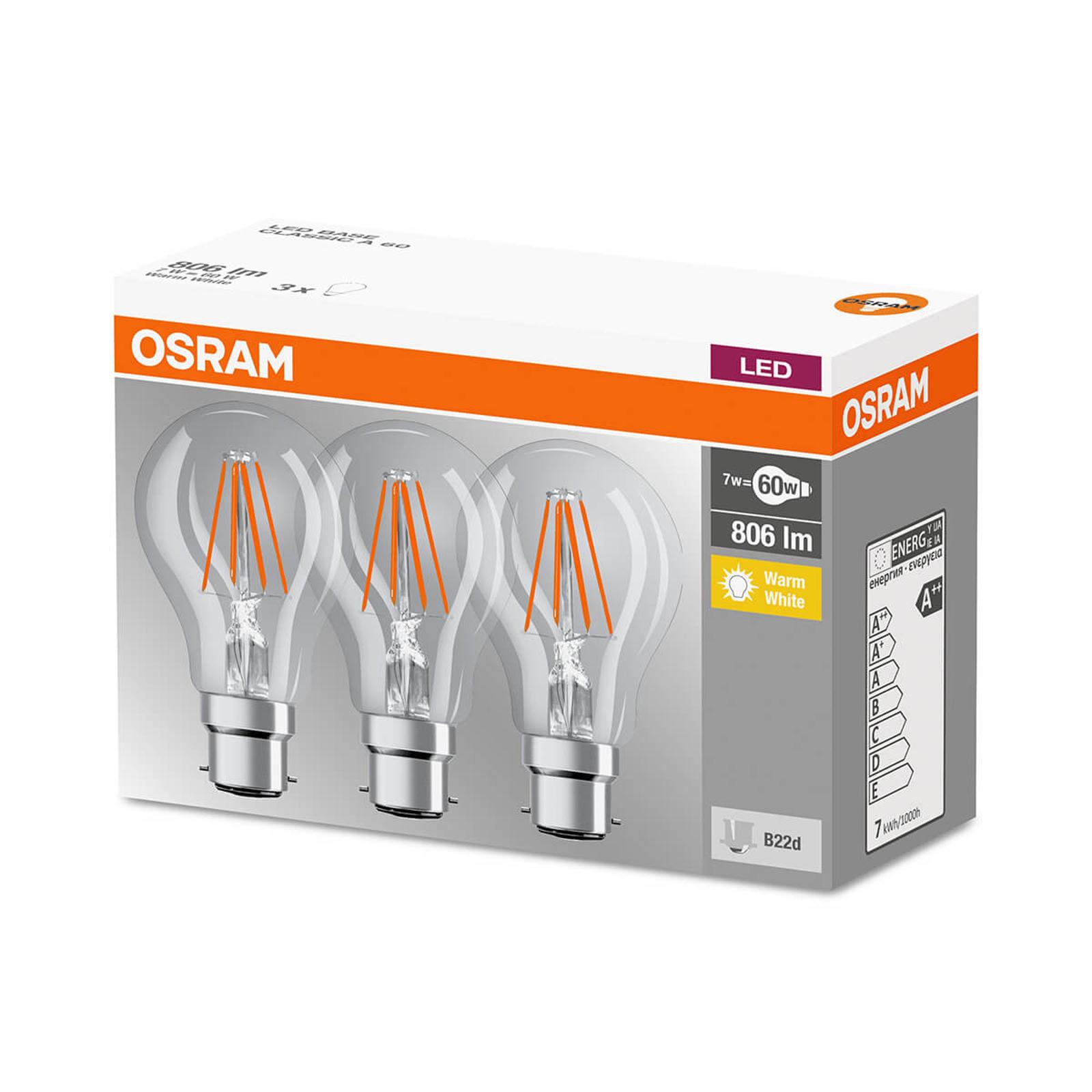LED-hehkulankalamppu B22d 7 W, lämmin valk., 3 kpl