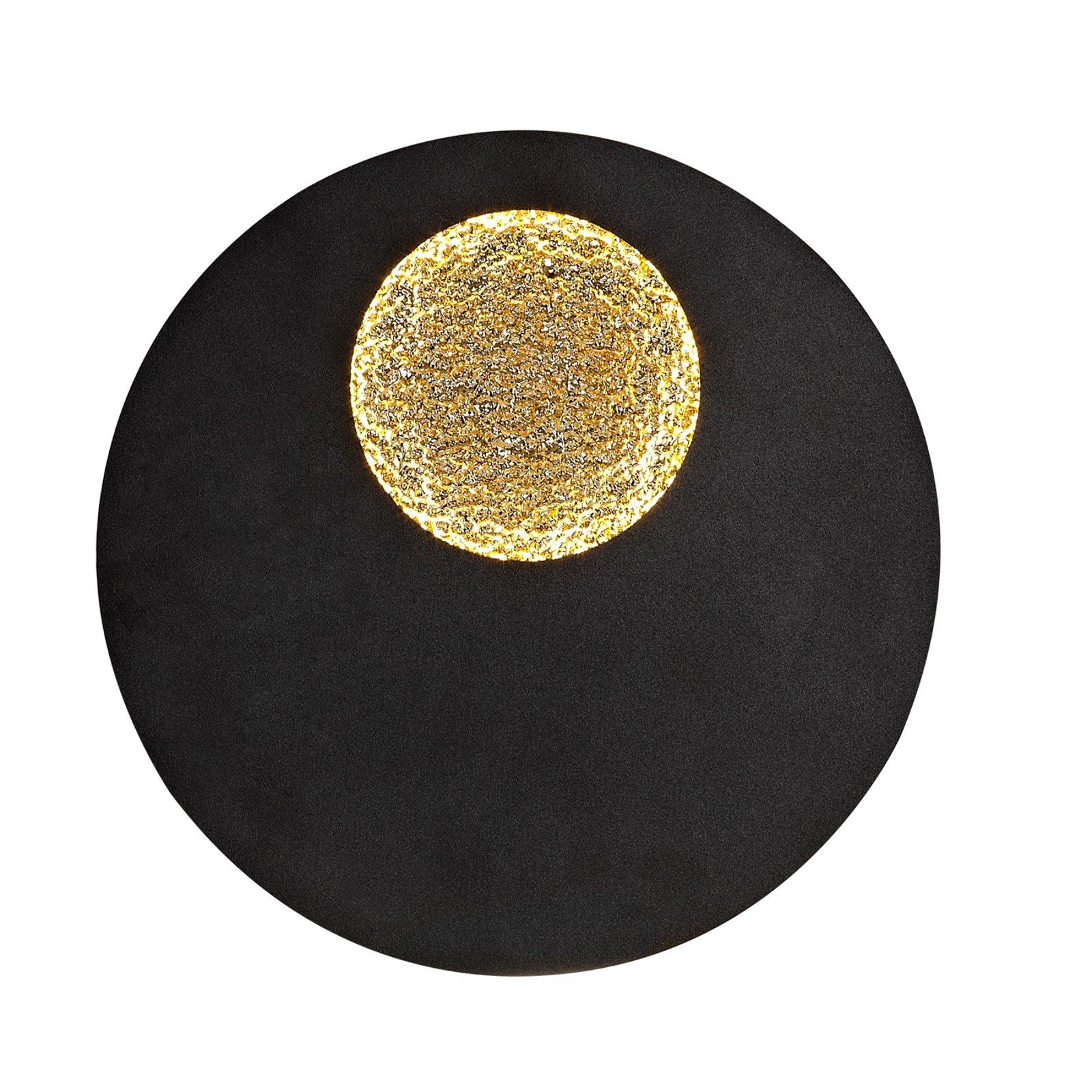 Jupiter LED-vegglampe, svart/gull, rund