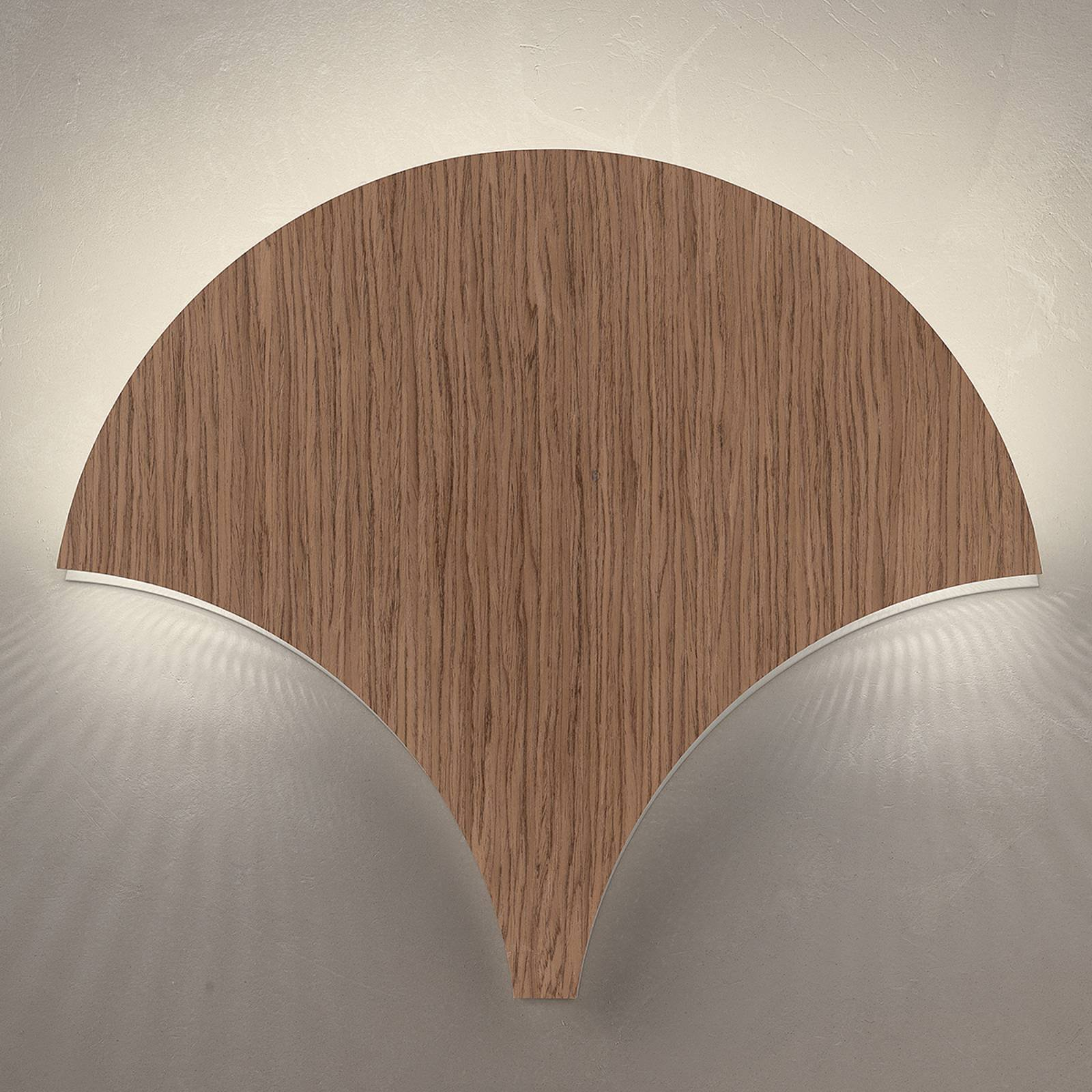 LED-vegglampe Palm, valnøtt