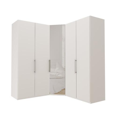Garderobe Atlanta - Hvit 100 + hjørne + 100, 216 cm, Hvit