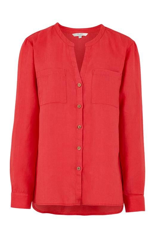 Cellbes Linneskjorta med träknappar Röd