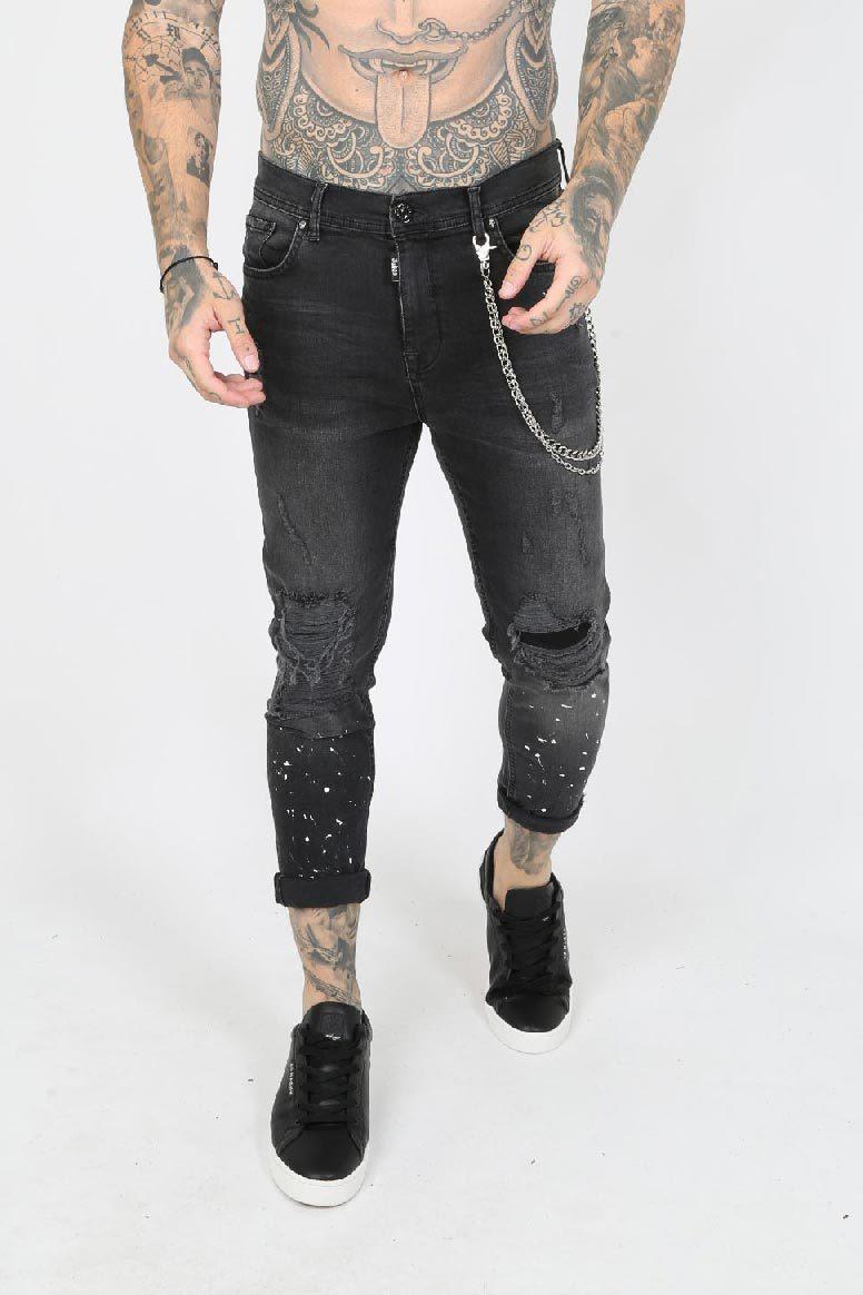 Rip Paint Splatter Ripped Men's Skinny Jeans - Grey, 30 inch waist