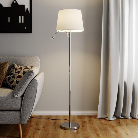 Benjiro - gulvlampe i tekstil med LED-leselampe