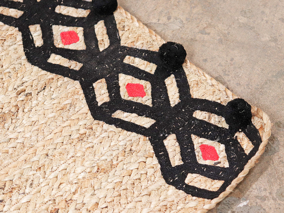 Large Handwoven Natural Rug - Black Hexagon Extra Large