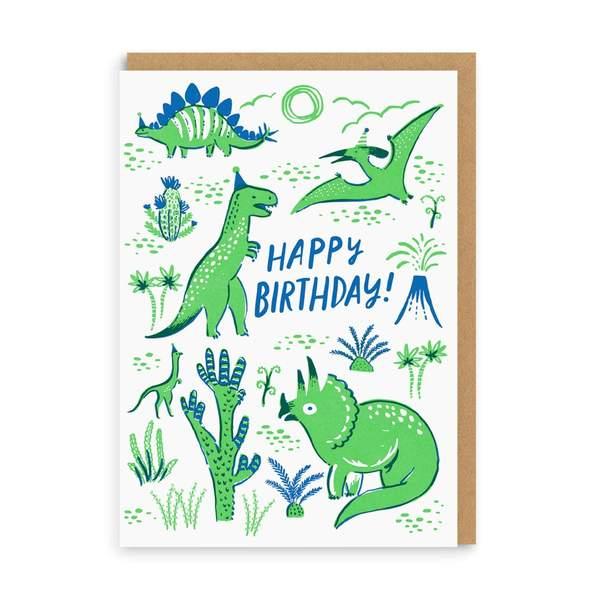 Dino Party Birthday Greeting Card