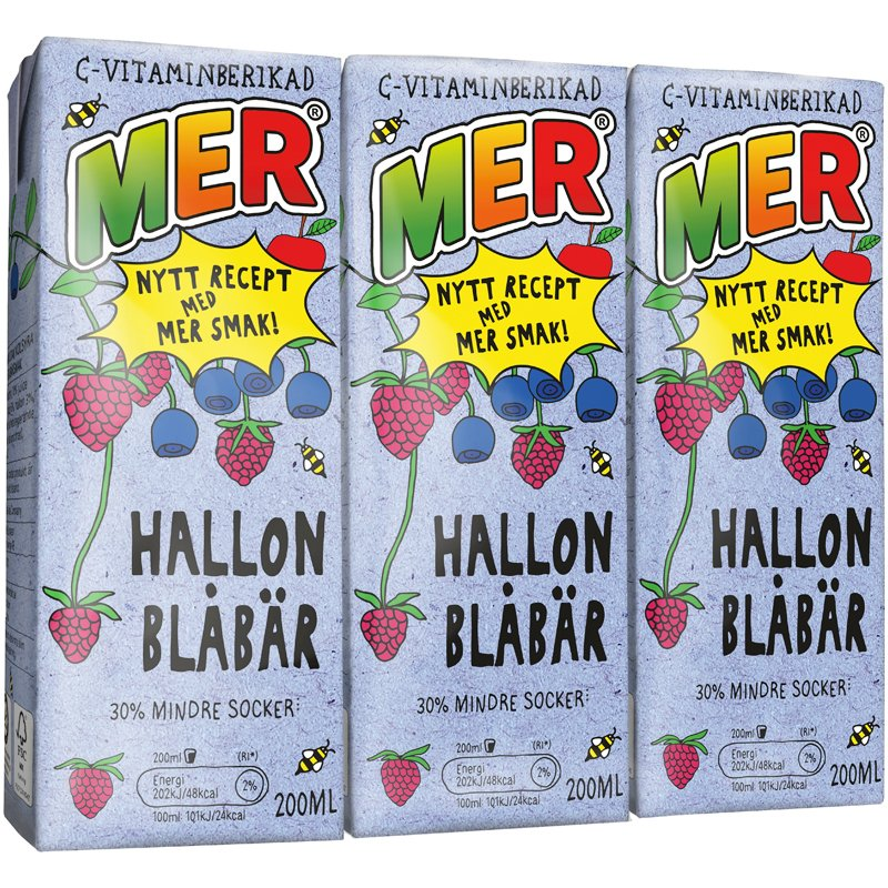 MER Hallon & blåbär 3-pack - 33% rabatt