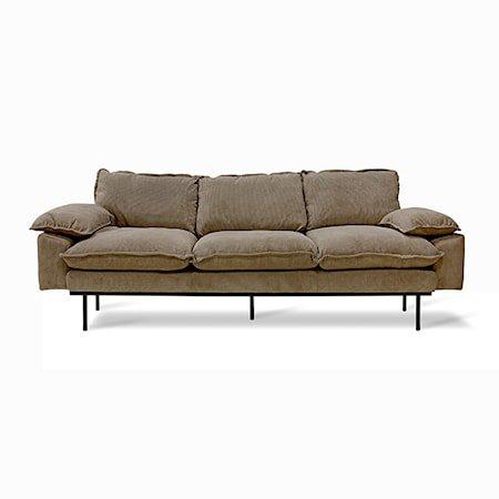 Retro Sofa 3-seter corduroy rib Brown