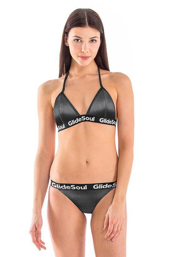 Black Pearl Tie Back Bikini Top / L