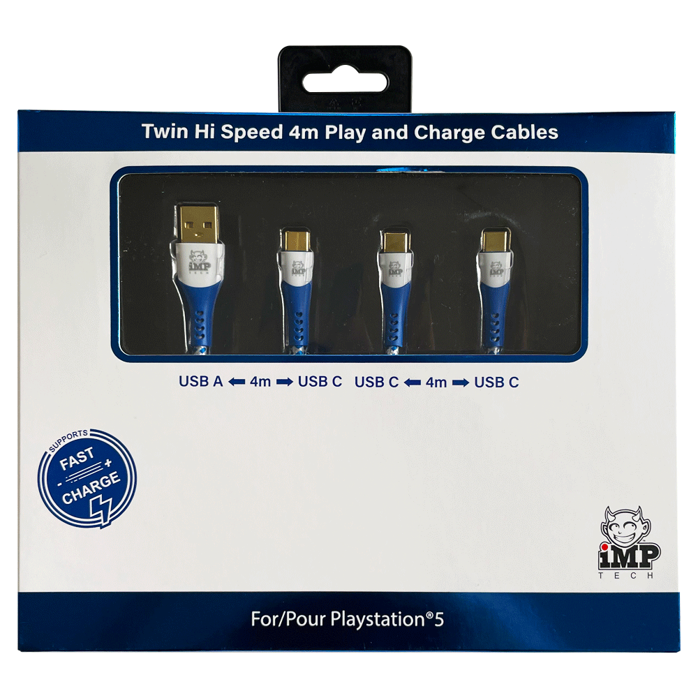 iMP - 4M Braided Fast Charge Play and Charge Cable Twin Pack - A to C, C to C