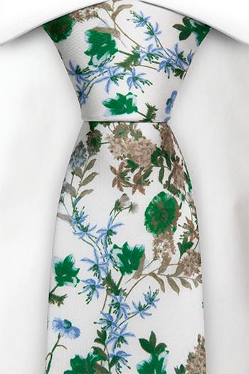Silke Slips, Grønne, blå og beige blomster på hvitt, Hvit, Blomstrete