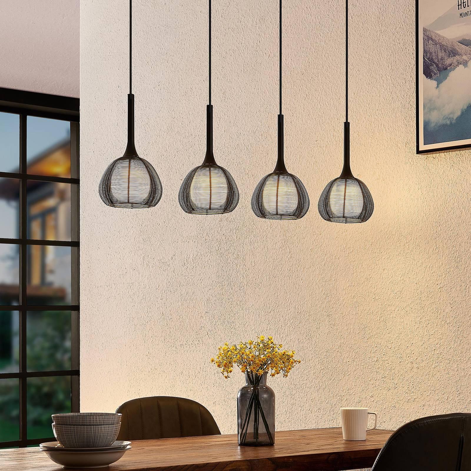 Lucande Tetira -riippuvalo, 4-lamppuinen, musta