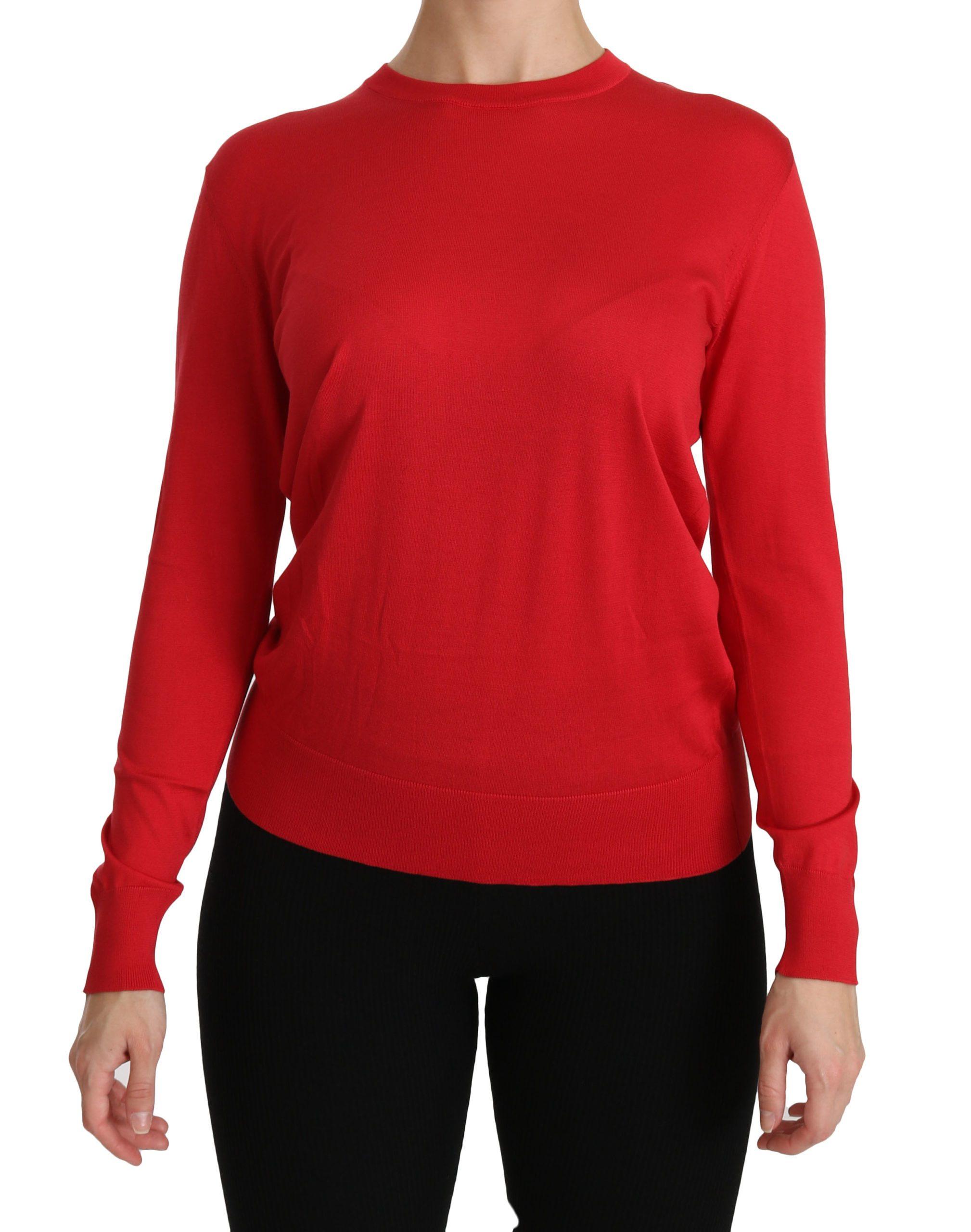 Dolce & Gabbana Women's Crewneck Pullover Silk Sweater Red TSH4247 - IT36 | XS