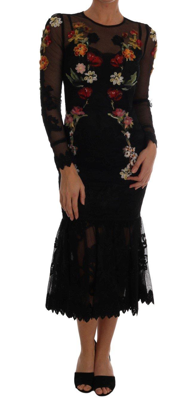 Dolce & Gabbana Women's Floral Appliqué A-line Dress Black DR1295 - IT38 | S