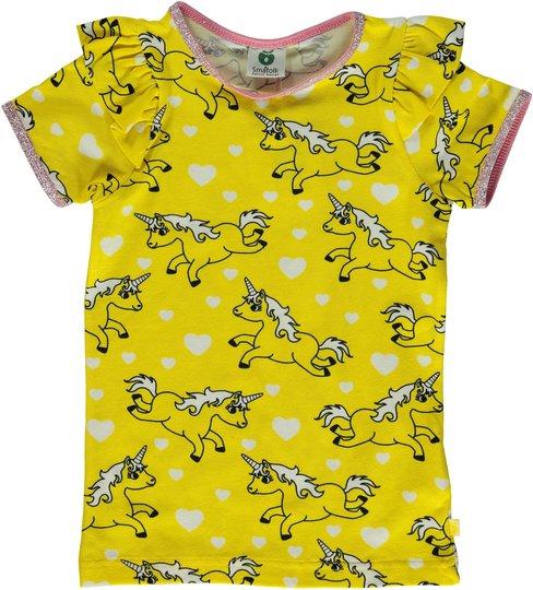 Småfolk Enhjørning T-Shirt, Yellow, 2-3 År