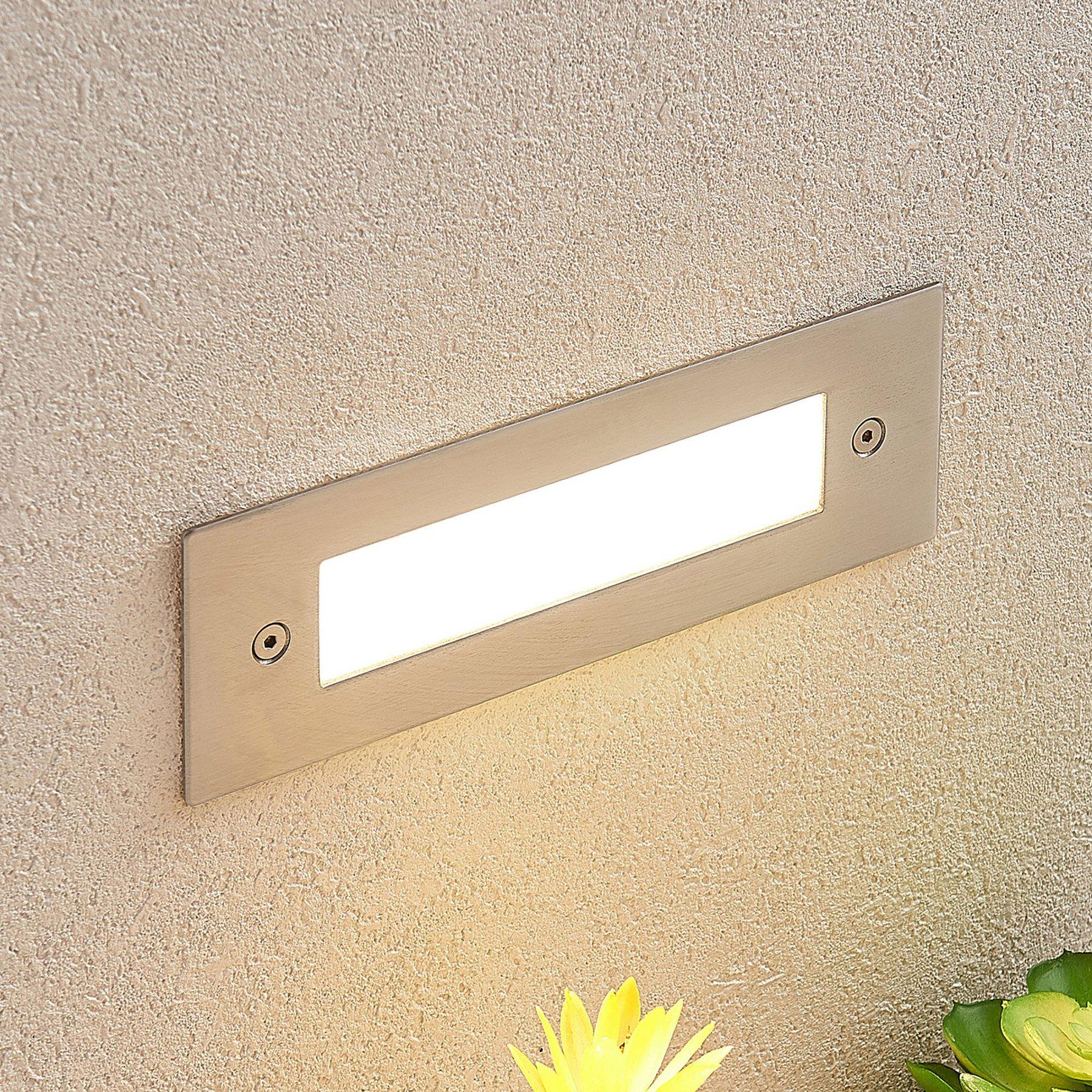 LED innfelt vegglampe Roni i edelstål, 19,5 cm