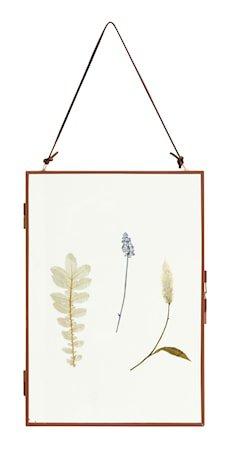 Meta Ramme med Tørkede blomster Vertikal Mørkerød