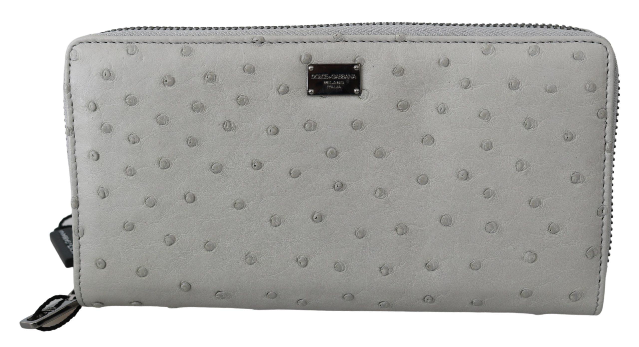 Dolce & Gabbana Men's Ostrich Leather Continental Wallet Gray VAS9702
