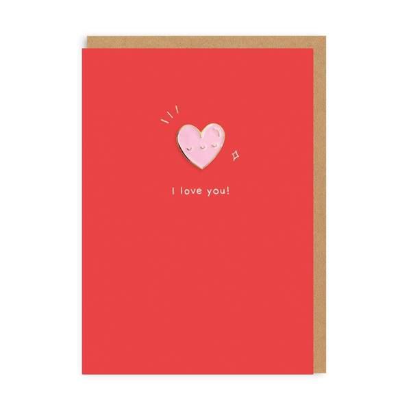 Heart Enamel Pin Greeting Card