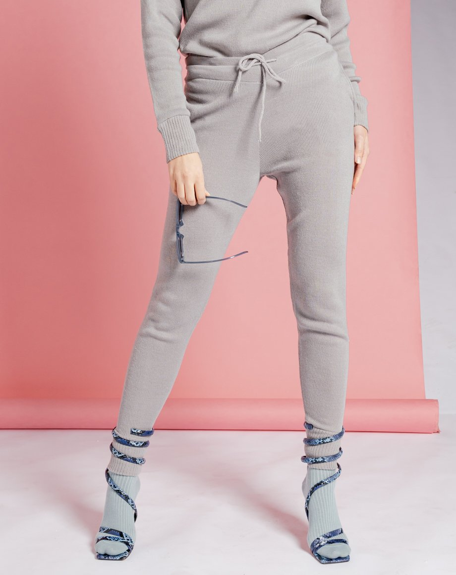 Auriel Knitted Lounge Bottoms - Grey / 8