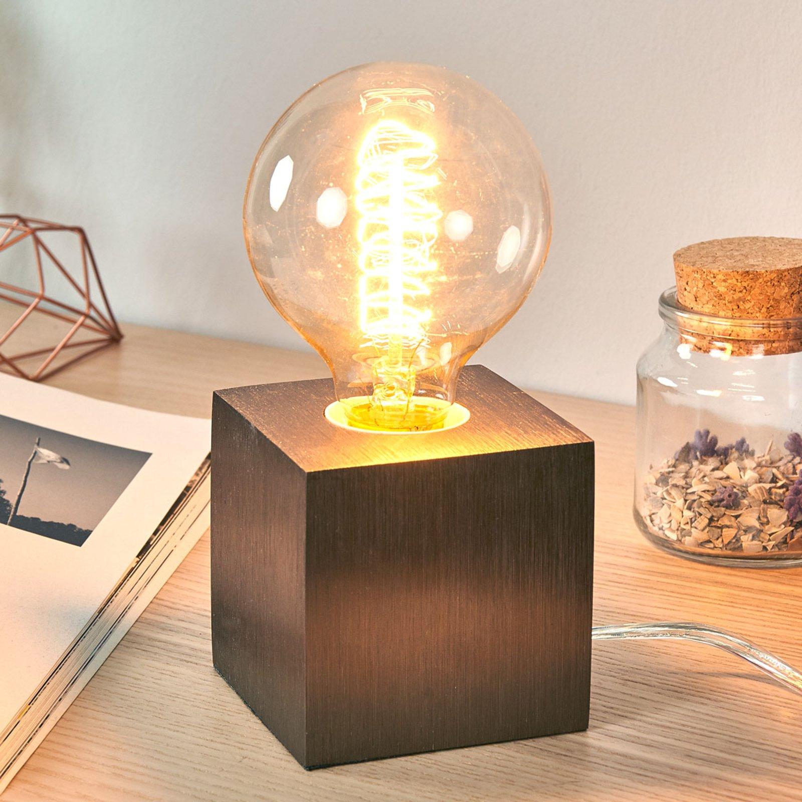 Bordlampe Cubic, kaffe