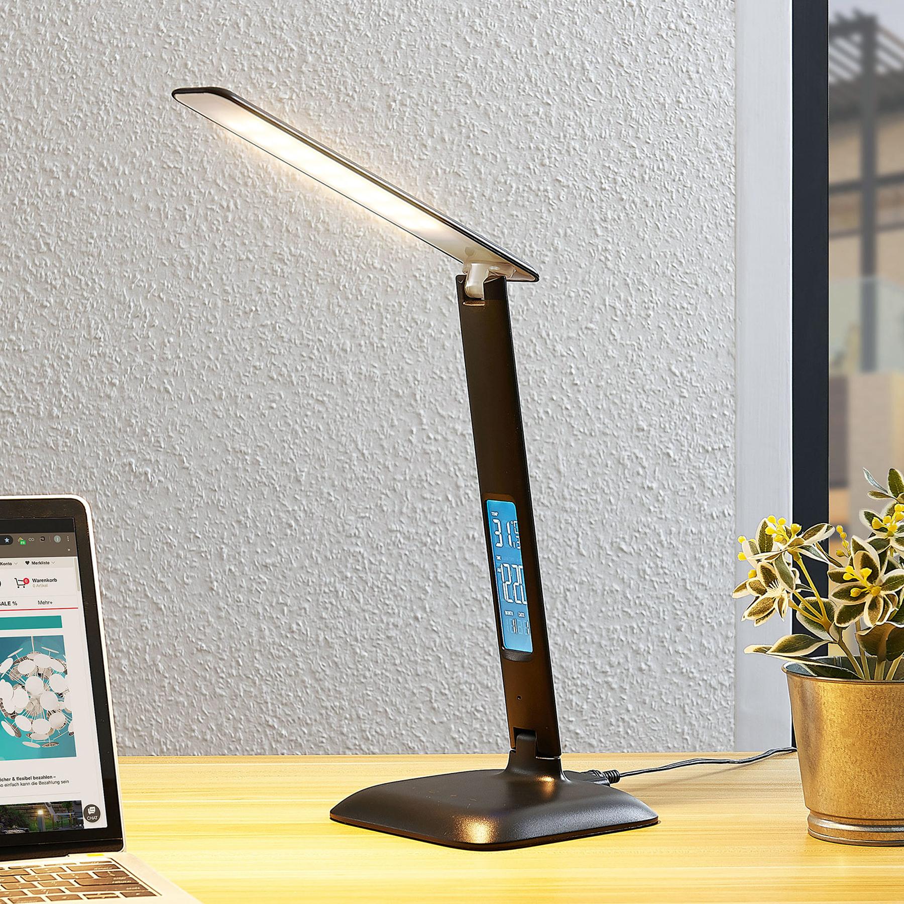 Lindby Ludmilla LED-pöytävalaisin, näyttö, musta