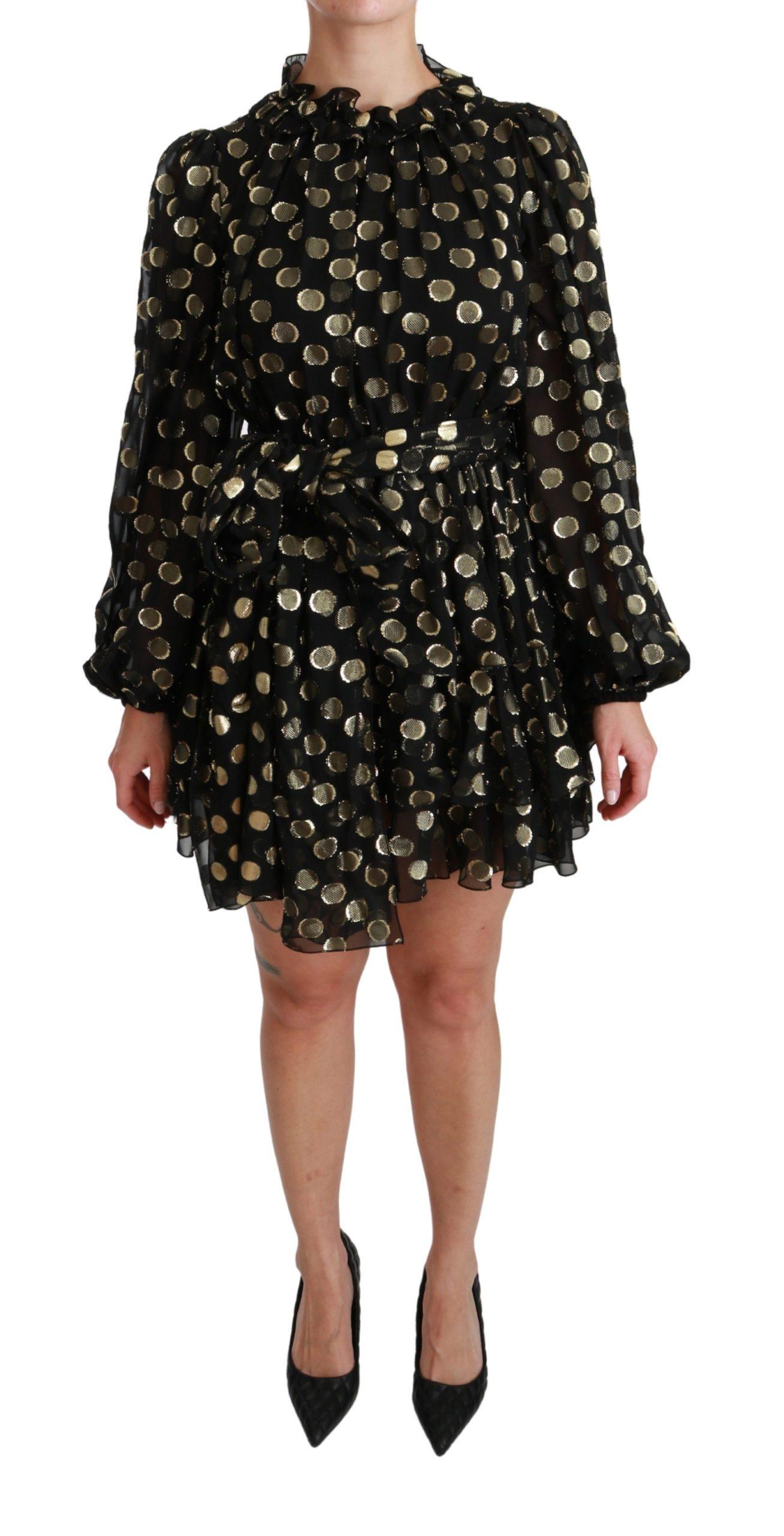 Dolce & Gabbana Women's Lurex Polka Silk Flared Dress Gold Black DR2492 - IT36   XS