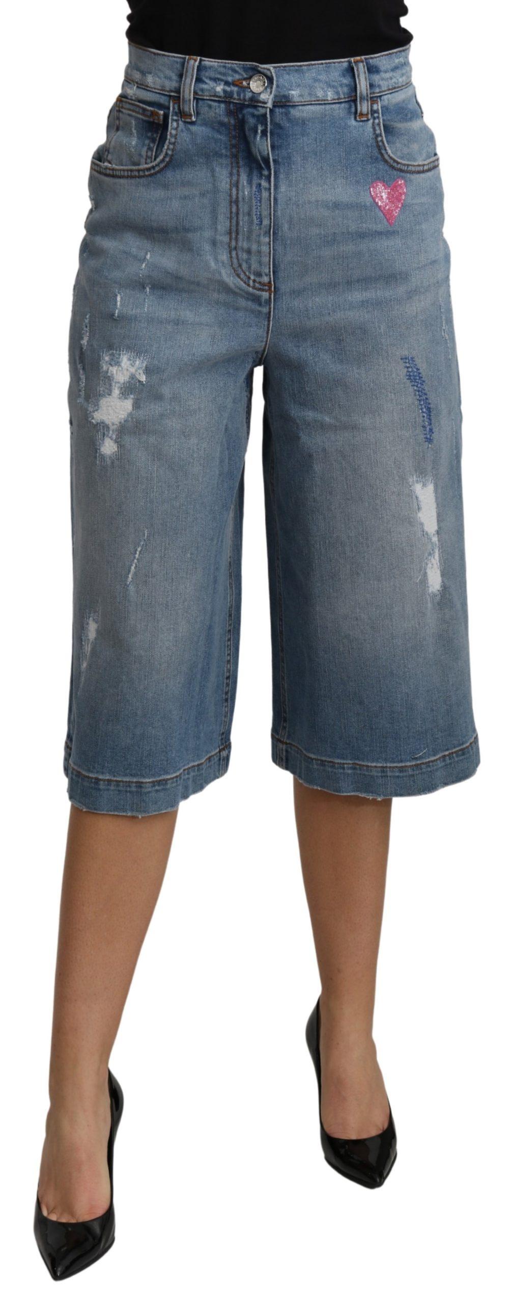 Dolce & Gabbana Women's Wide Leg Mid Waist Cotton Jeans Blue PAN70978 - IT40 S