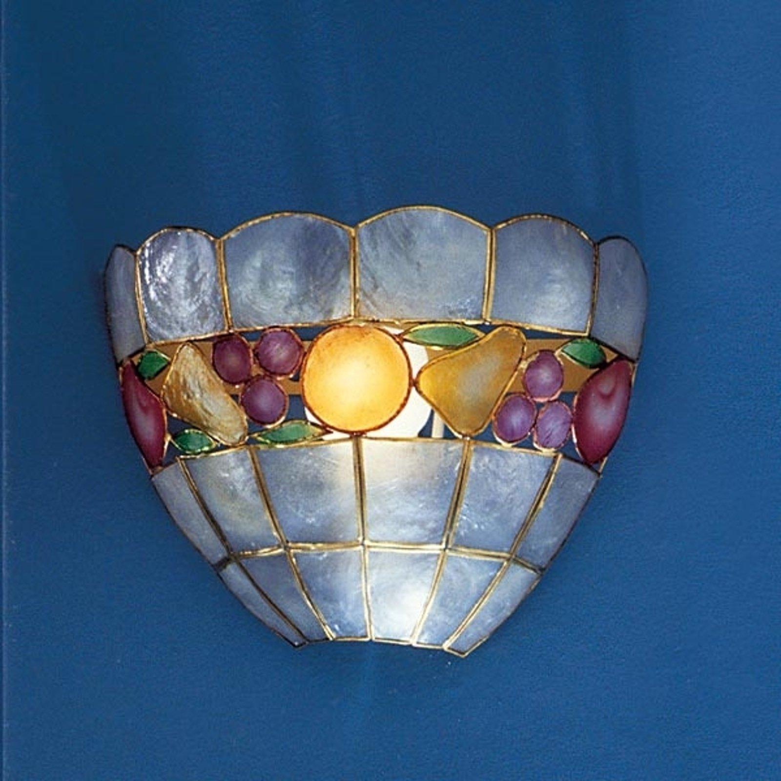 Vegglampe OLIVIA av perlemor med dekor