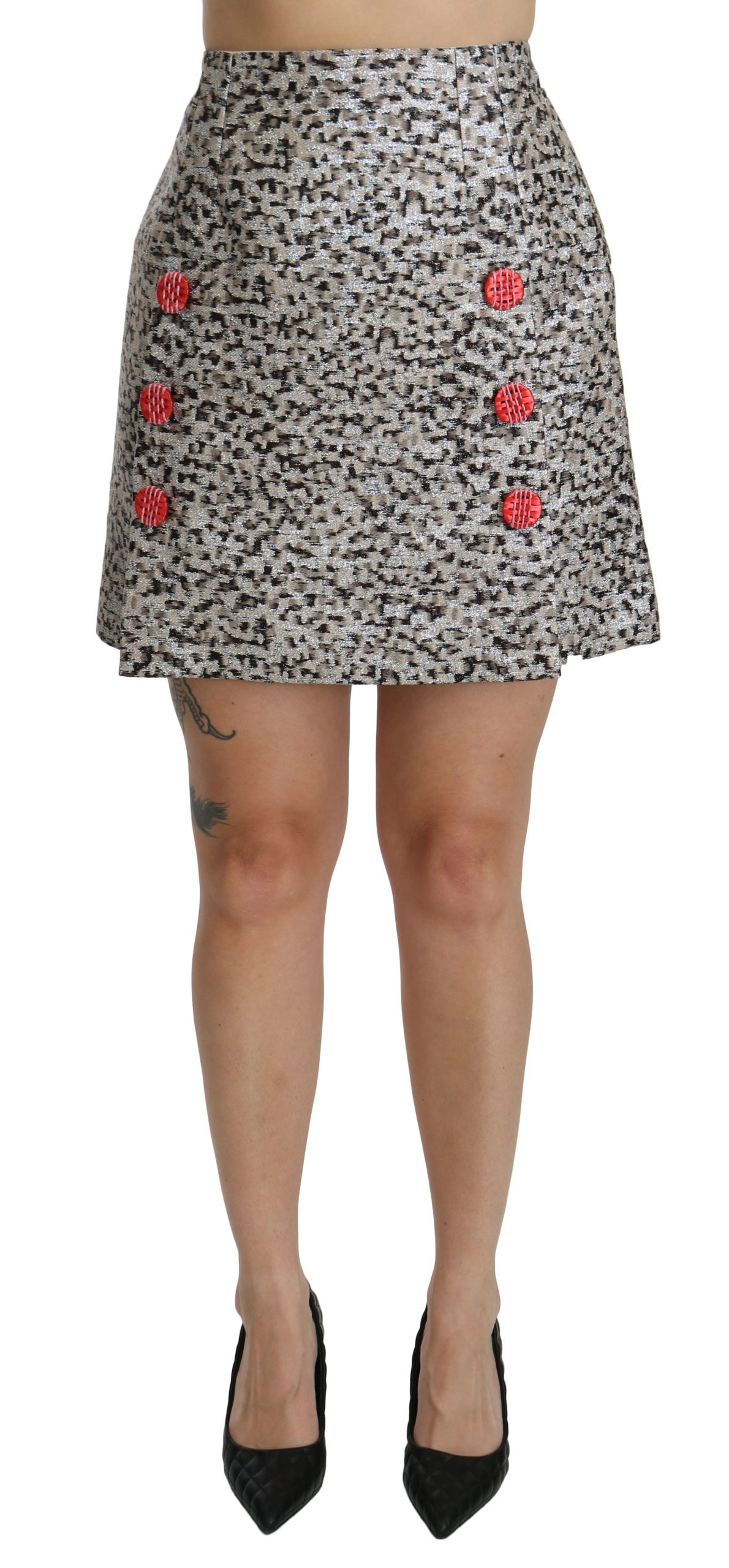 Dolce & Gabbana Women's Pattern A-line High Waist Skirt Black SKI1358 - IT36 | XS