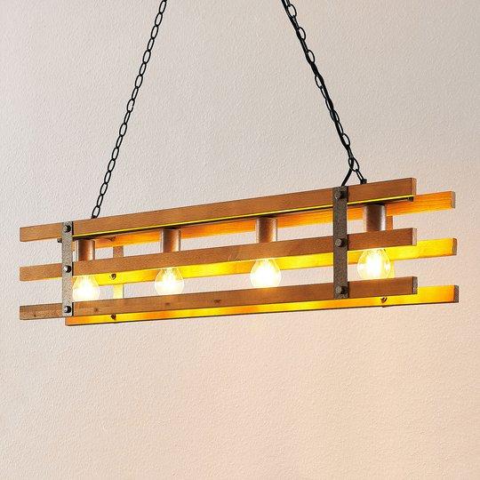 Lindby Jamina -riippuvalo, puuta, 4-lamppuinen