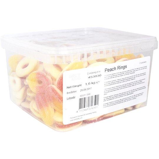 "Hel Låda Godis ""Peach Rings"" 1,6kg - 40% rabatt"